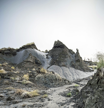 A bank of permafrost thaws near the Kolyma River in Siberia