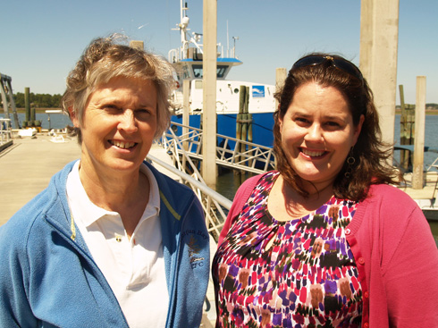 UGA Skidaway Institute scientists Dana Savidge (l) and Catherine Edwards