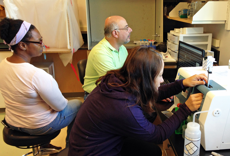 UGA Skidaway Institute researchers Tina Walters, Marc Frischer and Karrie Bulski practice running zooplankton samples on the FlowCam, a new instrument that is part of LIME.