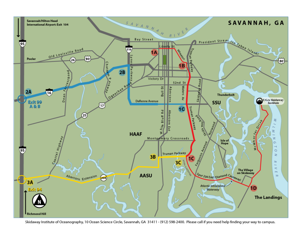 Skidaway Institute Directions Map 2017